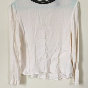 White Leather Collared Work Shirt